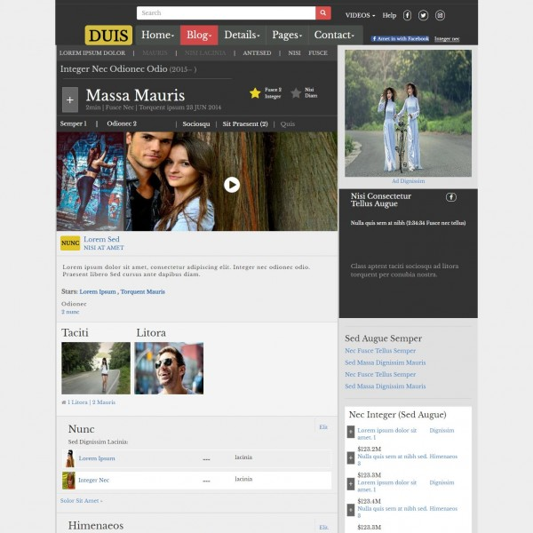 free movie website template template on web