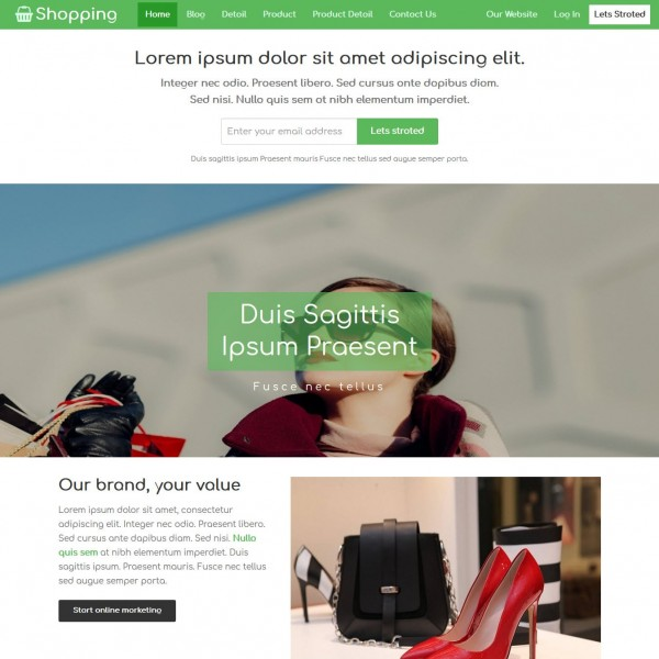 Free eCommerce Website Template | Shopping Cart | TemplateOnWeb