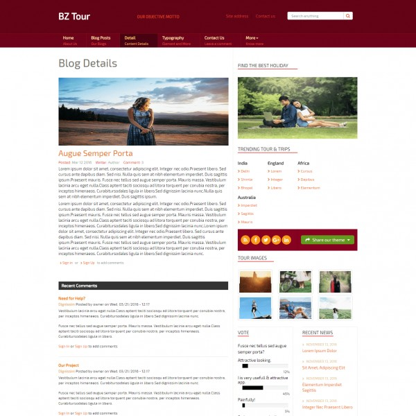 Tour Guide Html Website Template   Travel   Responsive
