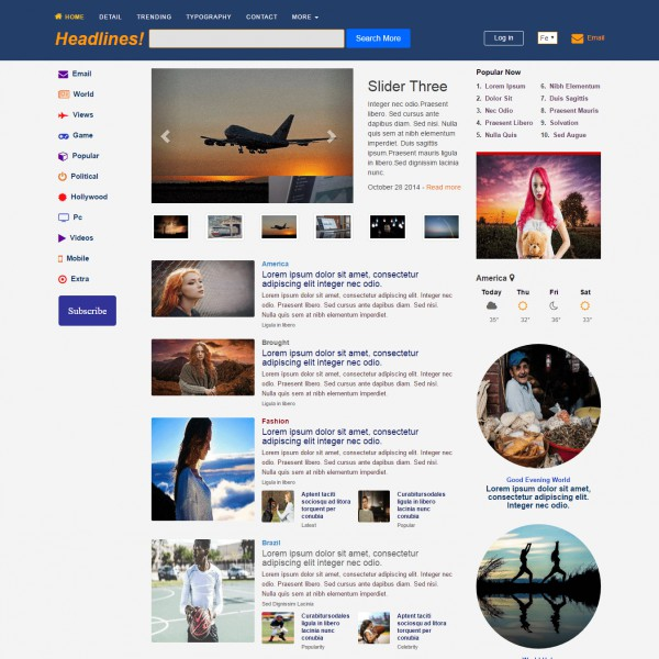 Download Free News Magazine Bootstrap Website Template - E news template